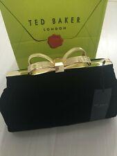 "Ted Baker Ladies Large Black Velvet Clutch Bag Gold ""T"" Bow RRP £109 : New"
