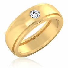 Round Cut 14K Solid Yellow Gold 0.21 Ct Natural Diamond Men's Bands Size 9 10 11