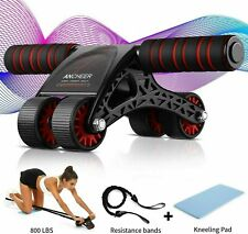 New listing Ab Roller Exercise Four Wheel Home Gym Workout Equipment Abdominal Adjustable F
