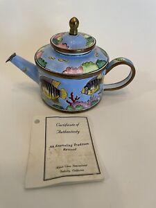 Kelvin Chen Mini Tea Pot Blue Fish 1999 Enamel #435