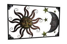 Zeckos Tri-Tone Celestial Sun Moon and Stars Indoor/Outdoor Metal Wall Art