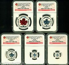 2015 CANADA REVERSE PROOF SILVER MAPLE LEAF 5 COIN SET NGC PF70 ER INCUSE $1- $5