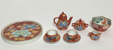 Vintage Chinese Handpainted Porcelain Dollhouse Miniature 11 Pcs Tea Set Signed