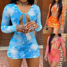 Beach Women 2 Piece Sexy Crop Top & Mini Dress Set Holiday Summer Long Sleeve
