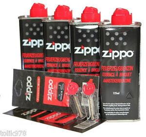 4x Zippo BENZIN a 125ml + 12 Feuersteine Flints + 2 Docht, ZIPPO Zubehör SET NEU