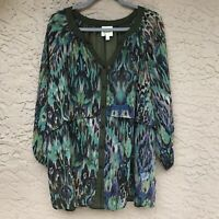 Anthropologie Fig and Flower Womens Green Ikat Boho Top Blouse Tunic Shirt 2X