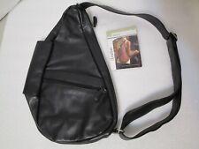 "NEW AmeriBag 5102-BK Classic Leather Healthy Back Bag Tote X-SMALL 15"" Black NWT"