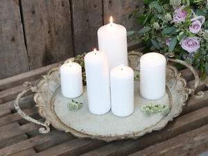 vintage style rose distressed metal candle tray dining  L48cm Dia.40cm H5.5cm