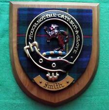 More details for vintage scottish clan macpherson smith tartan heavy oak plaque crest shield