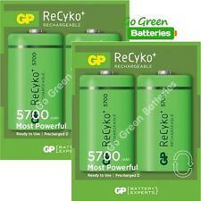 4 x GP Recyko D Size 5700 mAh  Rechargeable Batteries (replaces 2600) NiMH HR20
