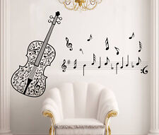 Elegant Guitar with Music Melody Notes Wall Sticker for Music Room Bedroom Decor