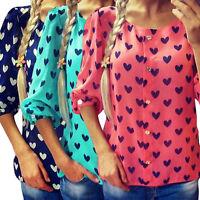 New Fashion Womens Ladies Loose Chiffon Tops Long Sleeve T-Shirt Casual Blouse