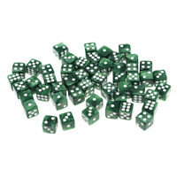 50x Acrylic Dice Set 12mm Six Sided Game Toy for Dungeons and Dragons Green