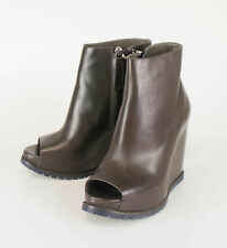 New BRUNELLO CUCINELLI Brown Leather Open Toe Booties Boots Shoes 41/11 $1595