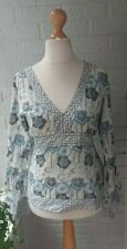 WHITE STUFF Ladies Duck Egg Blue Green Floral Long Sleeve Shirt Blouse Top 12