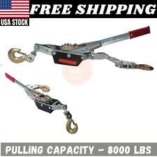 4 Ton 8000 Lbs Winch 2 Hooks Dual Power Ratchet Gear System w/Non-Slip Grip New