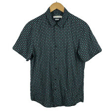 Topman Mens Button Up Shirt Sz Medium Slim Short Sleeve Geometric Good Condition