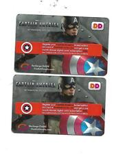 2 CAPTAIN AMERICA  Dunkin Donuts 2011 Collectible Gift Cards   NCV