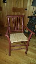 antique Old Hickory Arm Chair, Vintage Adirondack twig camp, made in Indiana