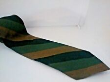 Karen Bulow 100% vintage wool tie, Shades of green wide stripes handwoven Canada