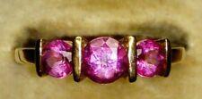 Uk Hallmarked 9ct Yellow Gold Natural Pink Topaz Three Stone Trilogy Ring, Sz P