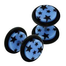 1 Paar Fakeplugs Sterne Schwarz Blau Fake Plug Ohrstecker Ohrpiercing Acryl