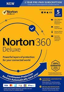 Norton 360 Deluxe 2021 5 Devices 5 PC 1 Year Secure VPN Internet Security 2022
