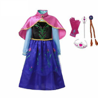 Girls Dress Set with Cape Princess Party Cosplay Costume Halloween 2-9 Years