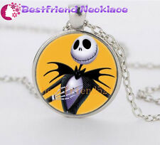 NEW Nightmare Before Christmas yellow jack glass silver necklace#YKL26