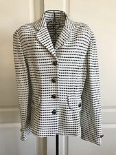 Tiffany Knits, Black & White Knit Jacket w/ black & gold buttons Size 14