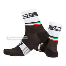 NALINI PRO SALITA WOOL BLEND CYCLING SOCKS : WHITE/BLACK S/M (37-42)