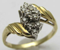 10K Yellow & White Gold Sz7 Ring 10 Diamond Accents Cluster Design Pretty