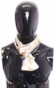 NEW $300 DOLCE & GABBANA Scarf Men's Beige Silk Viscose Wrap Green Backside