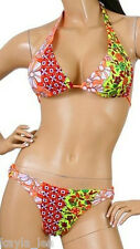 Pink/Orange Bra Lined 2 Pc Bikini Swimwear Swim Set L