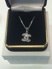 New 14K White Gold Pendant with .30 ct Diamonds 18 inch Necklace