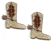 Western Boots - Set Of 2 - Tan/Copper Embroidered Iron On Applique Patches