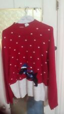 Liz Claiborne red and cream sweater with dog and snow flakes - XL