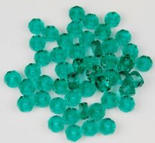 Czech Green Disc Faceted Fire Polished Loose Craft Glass Beads 3x6mm 50pcs