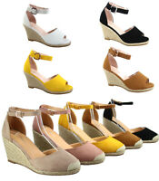 Women's Fashion Ankle Buckle Strap Espadrilles Wedge Sandal Shoes All Size New