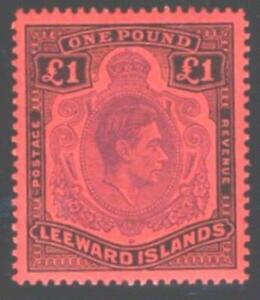 LEEWARD ISLAND.1952. BLACK & VIOLET,SCARLET PERF 13.UNMOUNTED MINT.SG.#114C