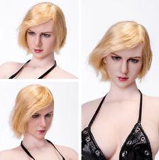 1/6 Women Doll Gold Short Hair Girl Head Sculpt F Female Phicen Body Figure Toy