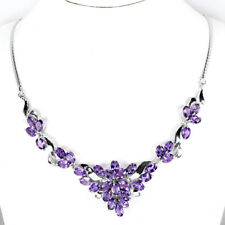 NATURAL 26 PCS. PURPLE AMETHYST STERLING 925 SILVER NECKLACE LENGTH 17.5 INCH.