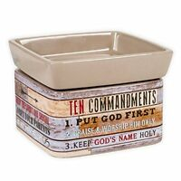 Ten Commandments Pallet Look Ceramic Stone 2-In-1 Jar Candle and Wax Tart Warmer