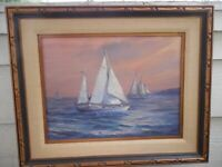 SAN DIEGO VINTAGE SAILING ORIGINAL OIL PAINTING BY LISTED ARTIST M .DOUGAN 33,5