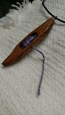 Boat Shuttle Necklace # 111,with Leather cord Pendant Weaving Wood Crafts Yarn