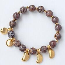 10mm Natural Boulder Opal Round Beads Alloy Bracelet BBOM14
