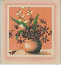 VINTAGE WHITE LILY OF THE VALLEY PURPLE ASTERS GARDEN FLOWERS BOUQET CARD PRINT