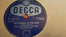 RONALD BINGE AND HIS ORCHESTRA SEPTEMBER IN THE RAIN & HOLIDAY FOR BELLS F10410