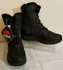TOTES Women's Waterproof Winter Duck Boots~Black w/Laces & side Zipper US SZ 9M