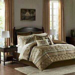 Luxury 16pc Brown Jacquard Reversible Comforter Set AND Sheet Sets
